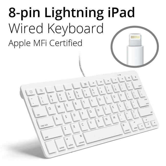 8-pin Wired iPad Keyboard - Lightning Plug Connector