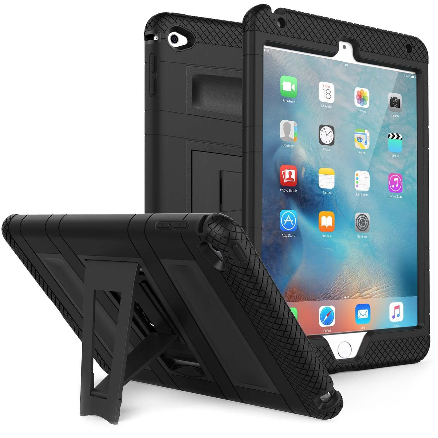 Rugged Defender Case (Apple iPad Pro 12.9, Pro 10.5, Air 3, Mini 4, Mini 5 & Amazon Kindle)