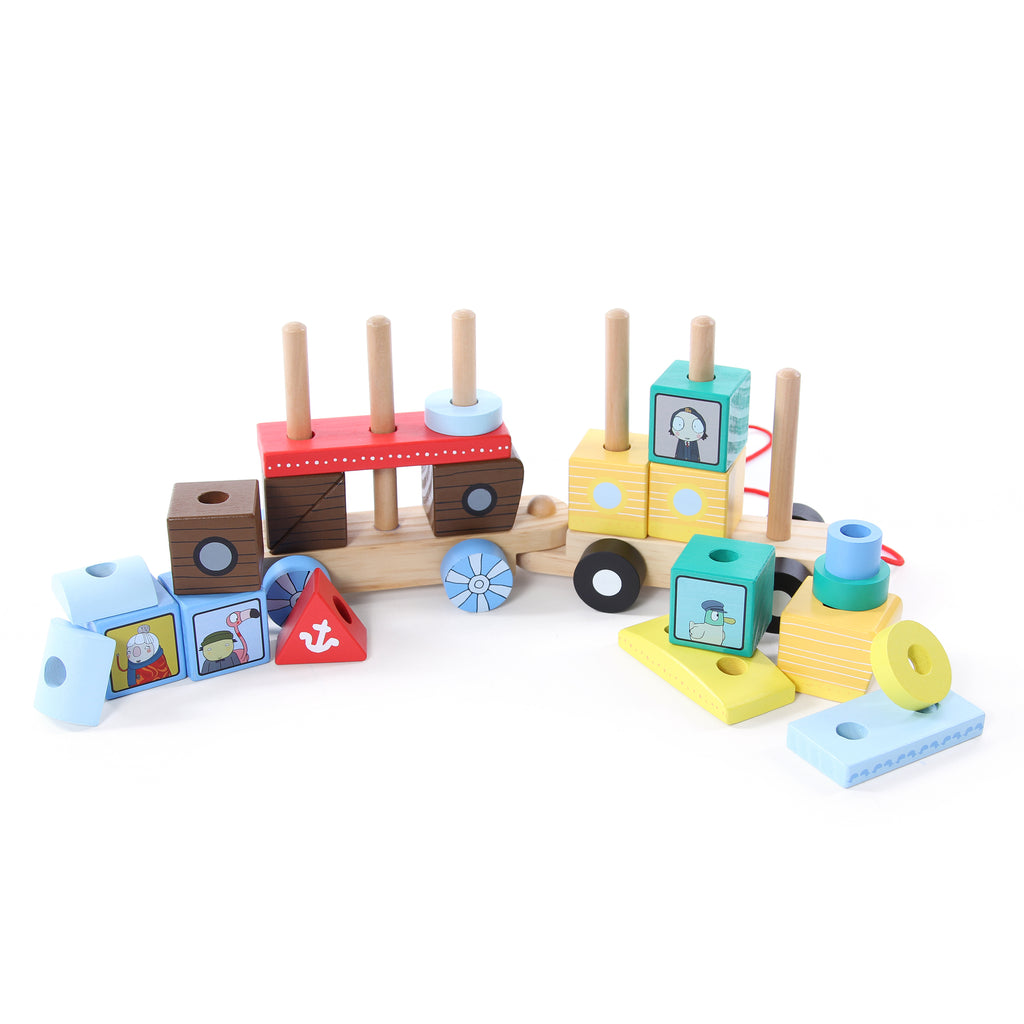 Sarah & Duck Wooden Stacking Train