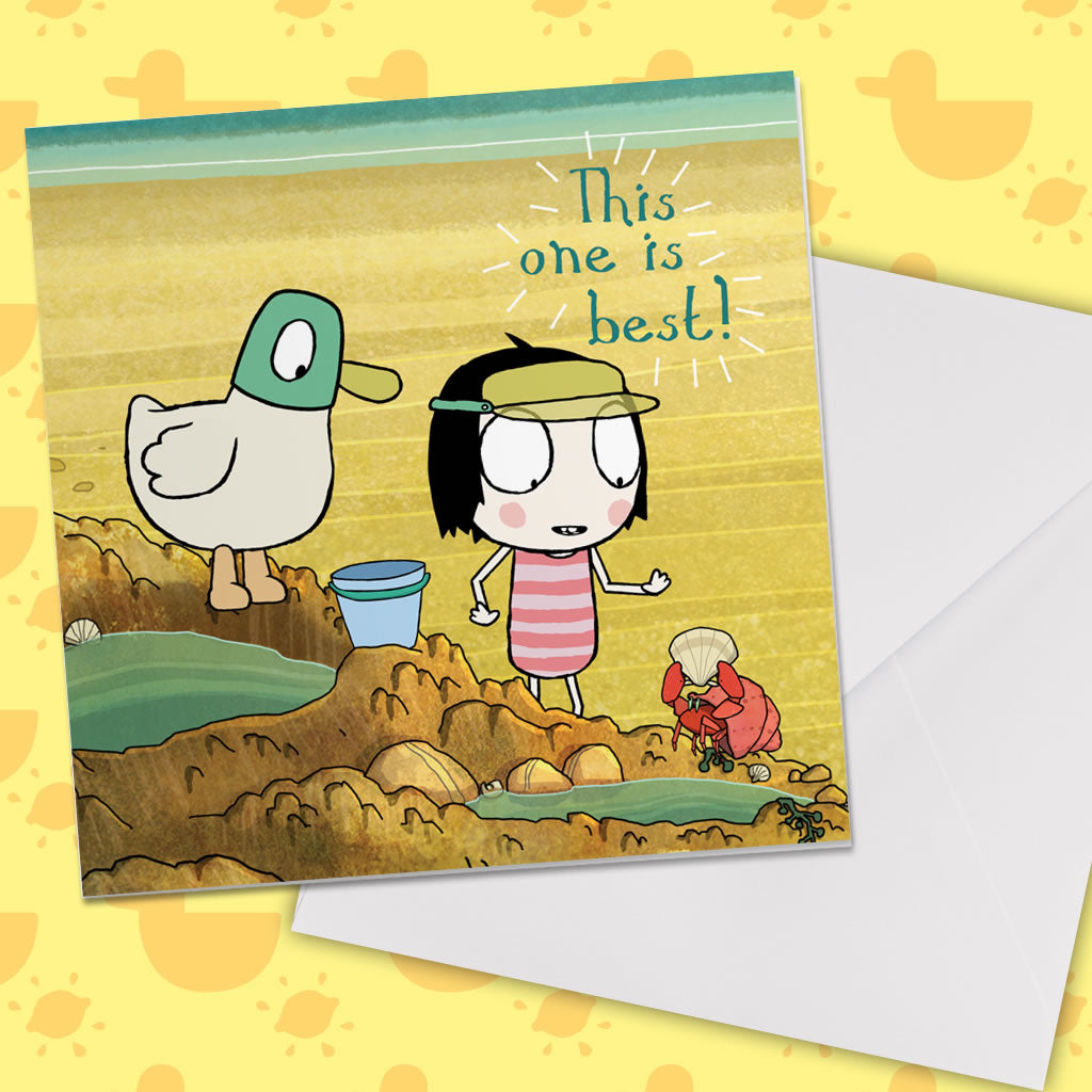 "Sarah & Duck ""this one is best"" Square Greeting Card (Lifestyle)"