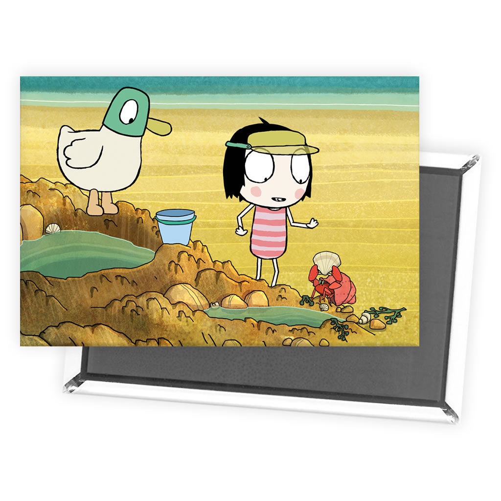 Sarah & Duck at the Beach Magnet