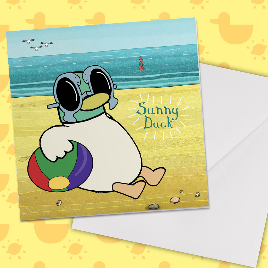 Sarah & Duck Sunny Duck Square Greeting Card (Lifestyle)