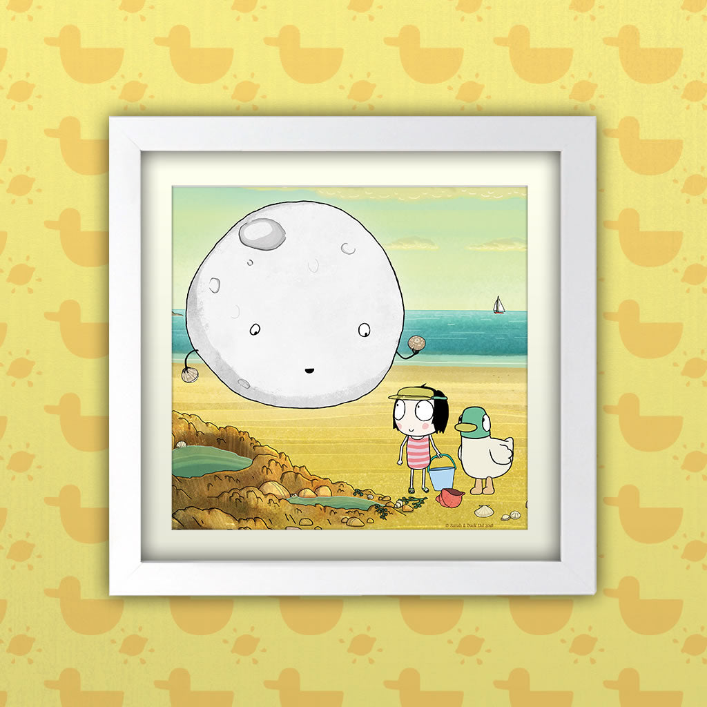 Sarah & Duck Moon Square White Framed Art Print (Lifestyle)
