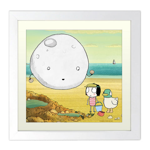 Sarah & Duck Moon Square White Framed Print