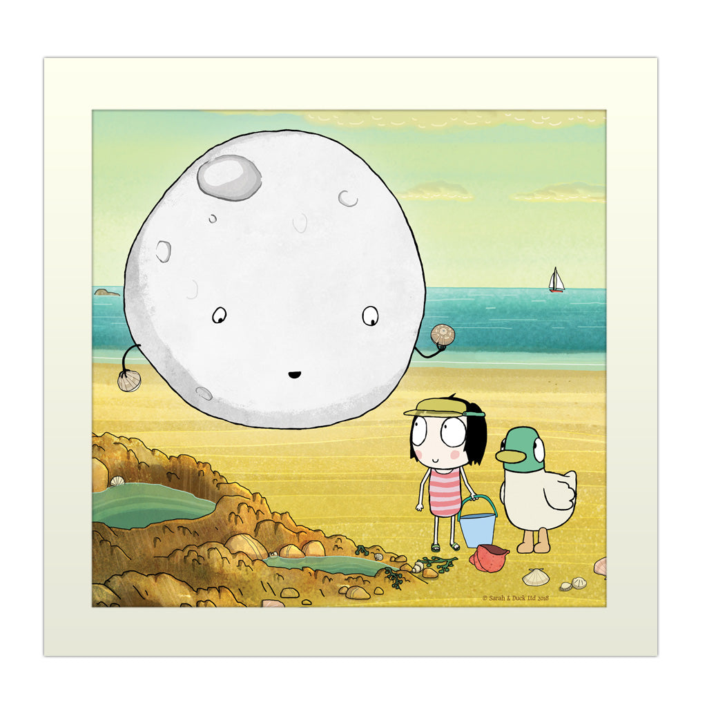 Sarah & Duck Moon Square Art Print