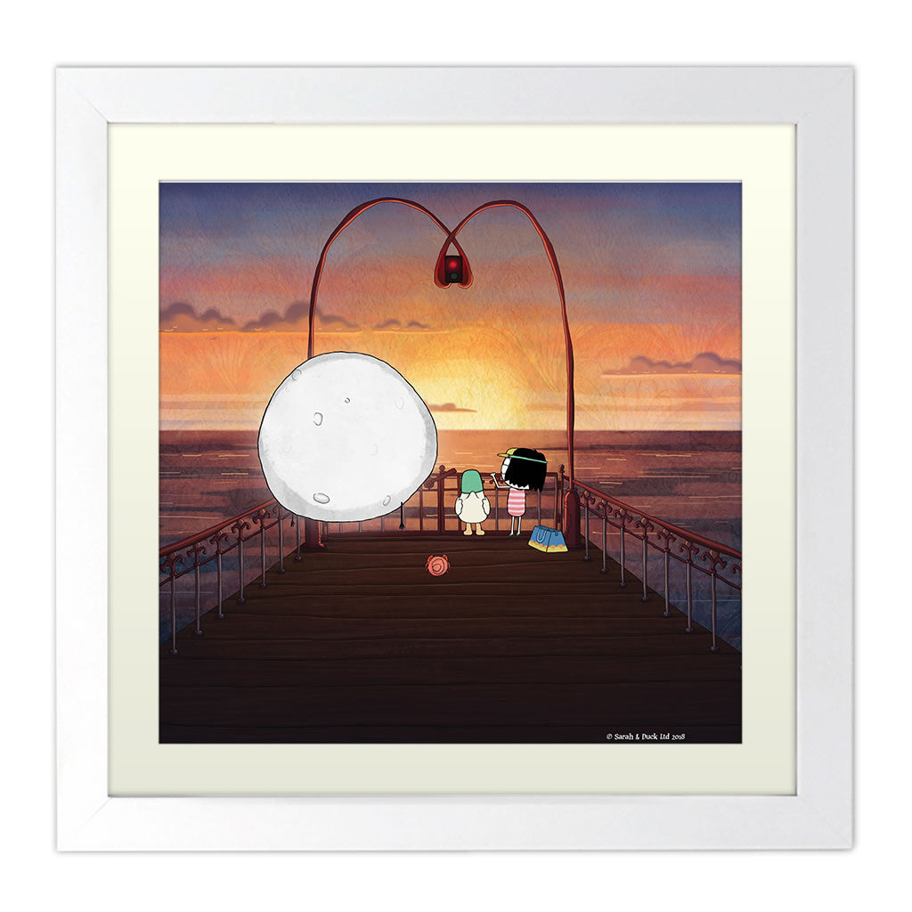 Sarah & Duck on the Pier Square White Framed Print