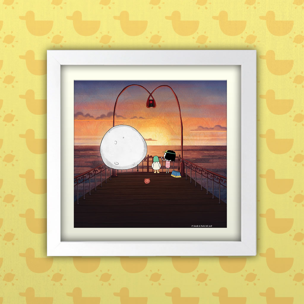 Sarah & Duck on the Pier Square White Framed Art Print (Lifestyle)