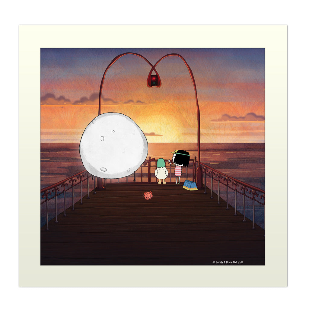Sarah & Duck on the Pier Square Art Print