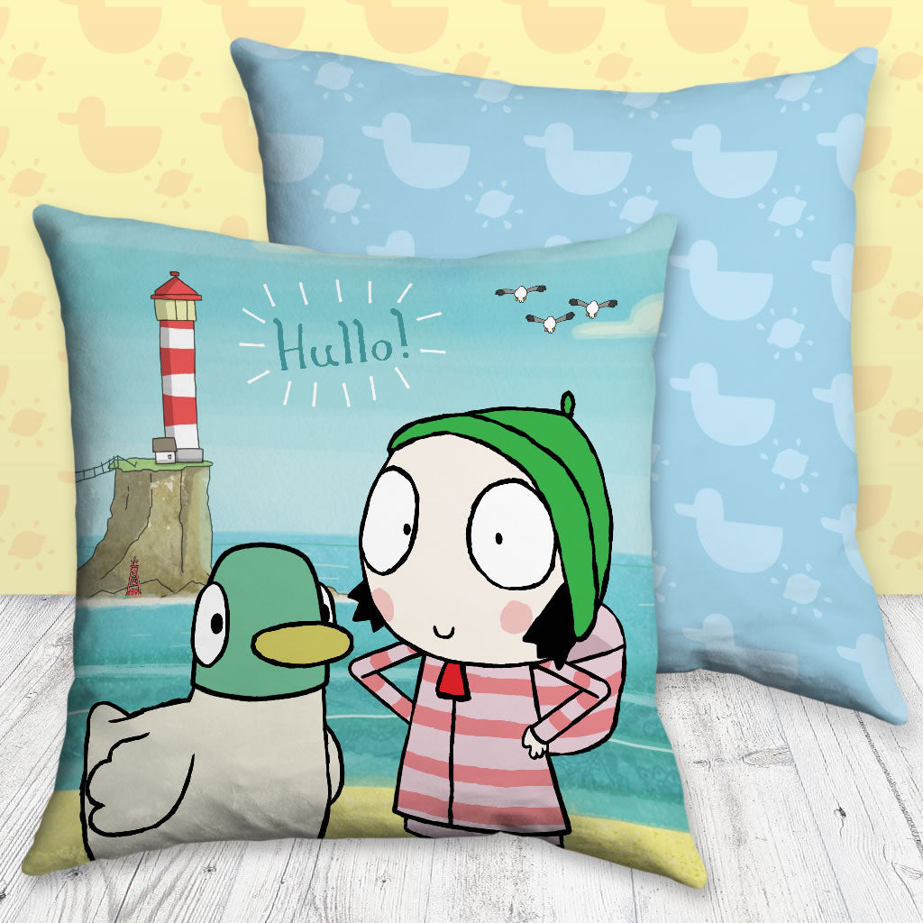 Hullo! Blue Sarah and Duck Cushion (Lifestyle)
