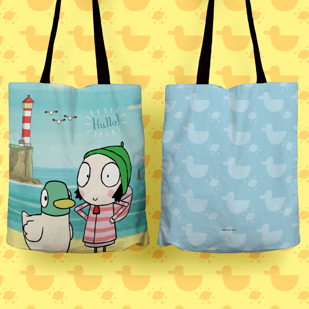 Hullo! Blue Sarah and Duck Edge to Edge Tote (Lifestyle)