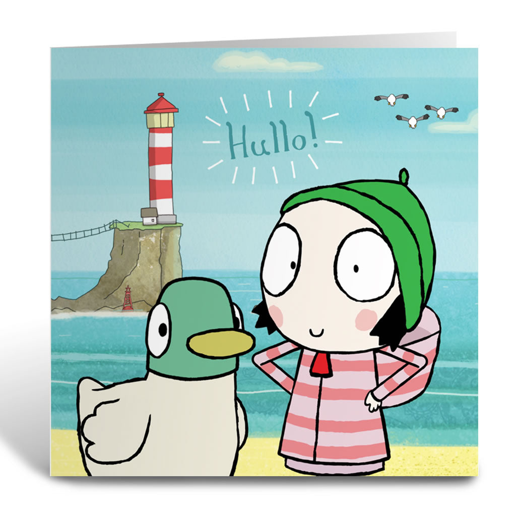 Hullo! Sarah and Duck Square Greeting Card
