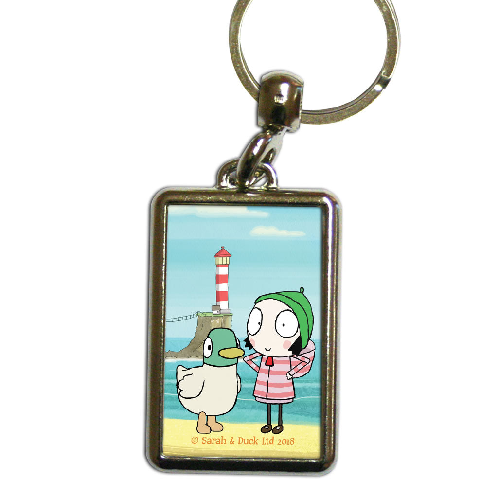 Sarah & Duck by the Seaside Metal Keyring