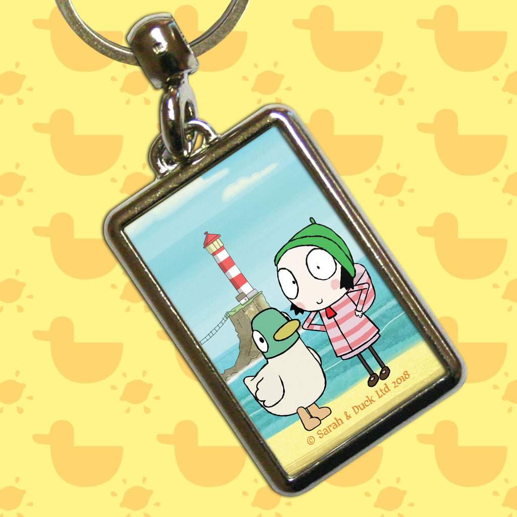 Sarah & Duck by the Seaside Metal Keyring (Lifestyle)