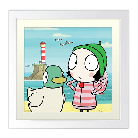 Sarah & Duck at the Beach Square White Framed Print