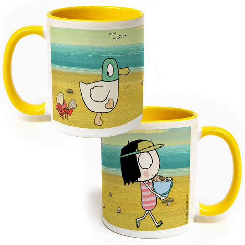 Sarah & Duck at the Beach Colour Insert Mug