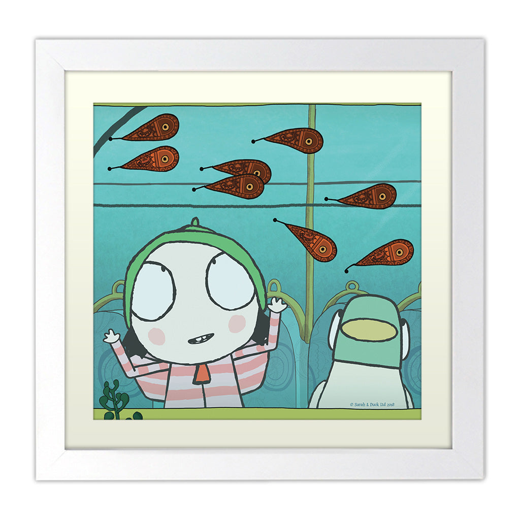 Sarah & Duck Personalised Square White Framed Art Print