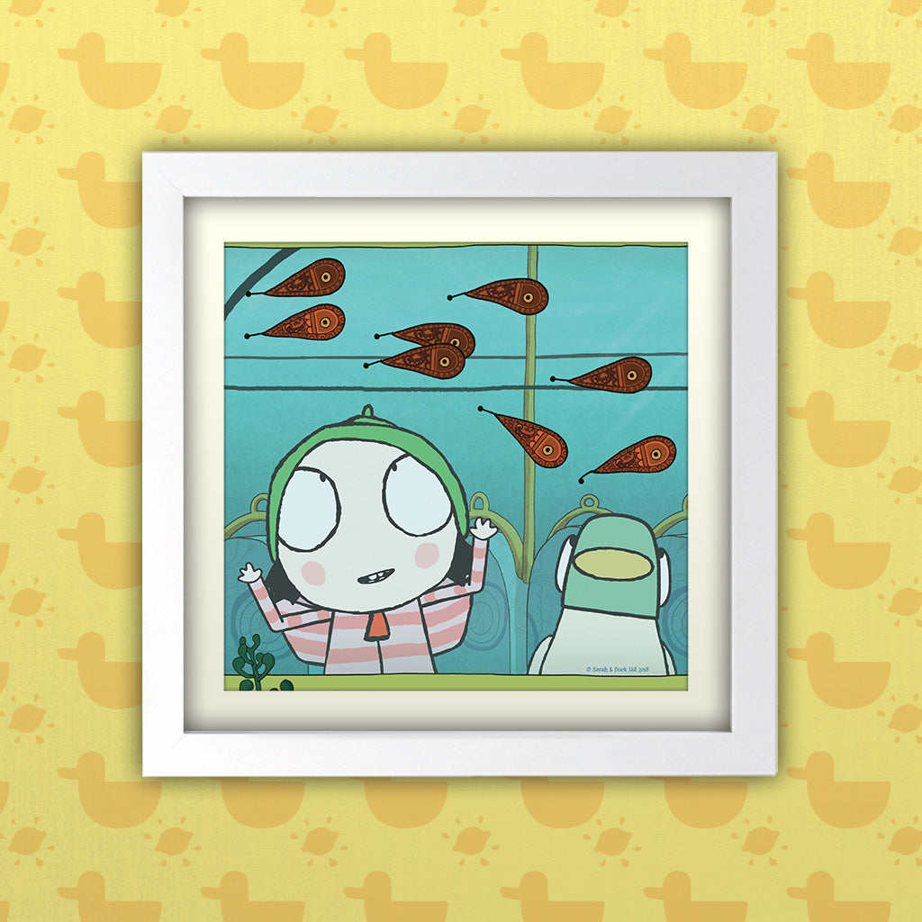Sarah & Duck Personalised Square White Framed Art Print (Lifestyle)