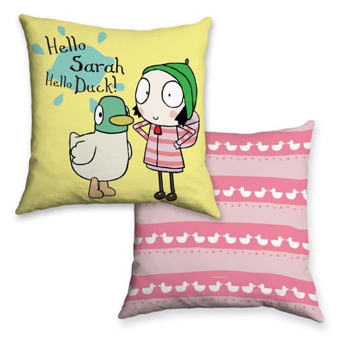 Personalised Hello Sarah, Hello Duck! Cushion