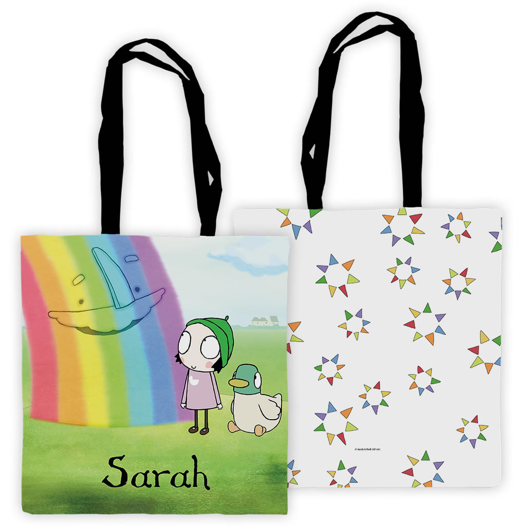 Personalised Sarah & Duck Rainbow Tote Bag