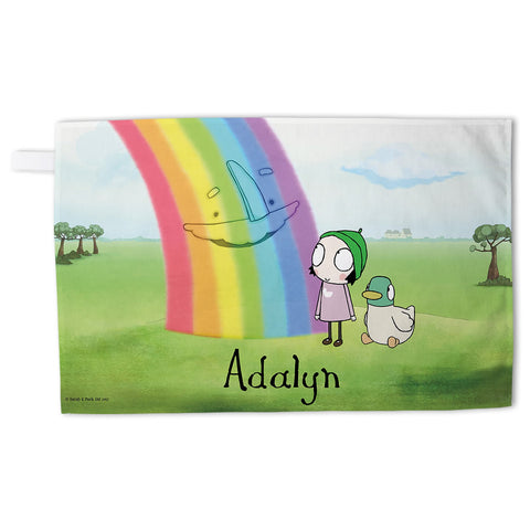 Personalised Rainbow Tea Towel - Landscape