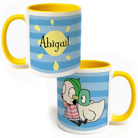 Personalised Sarah & Duck Lemon Colour Insert Mug
