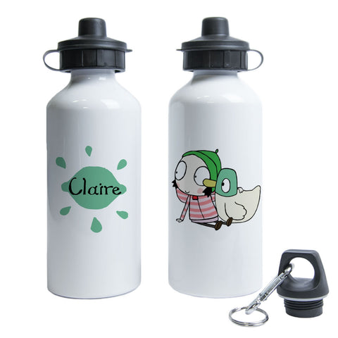 Personalised Sarah & Duck Water Bottle - Green