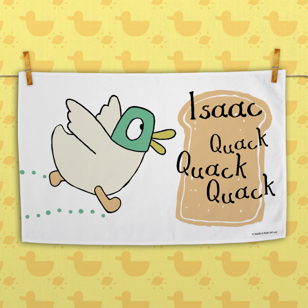 Personalised White Duck Tea Towel