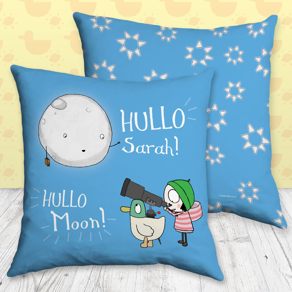Personalised Blue Moon Sarah & Duck Cushion