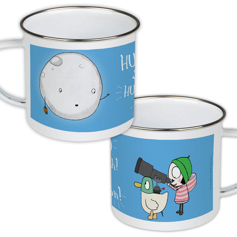 Personalised Blue Hullo Moon Enamel Mug