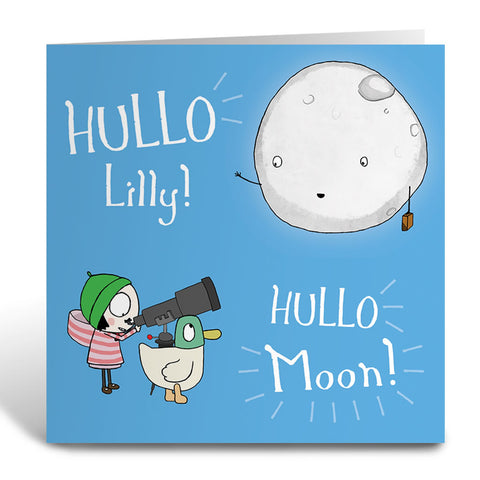Personalised Hullo Moon Greeting Card