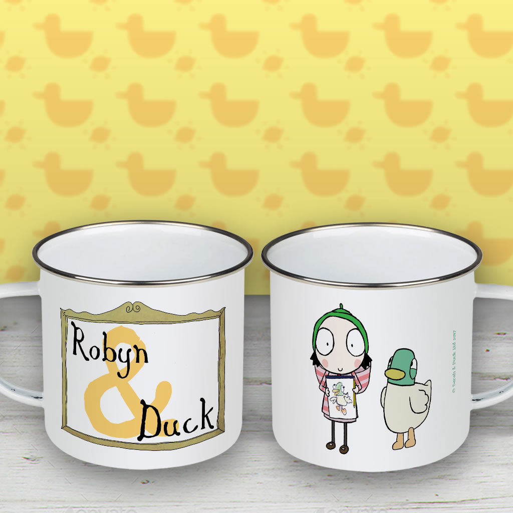 Personalised Sarah & Duck Are Celebrating Enamel Mug