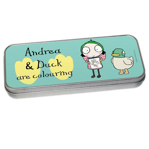 Personalised Sarah & Duck Are Celebrating Pencil Tin