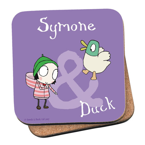 Personalised Purple Sarah & Duck Coaster