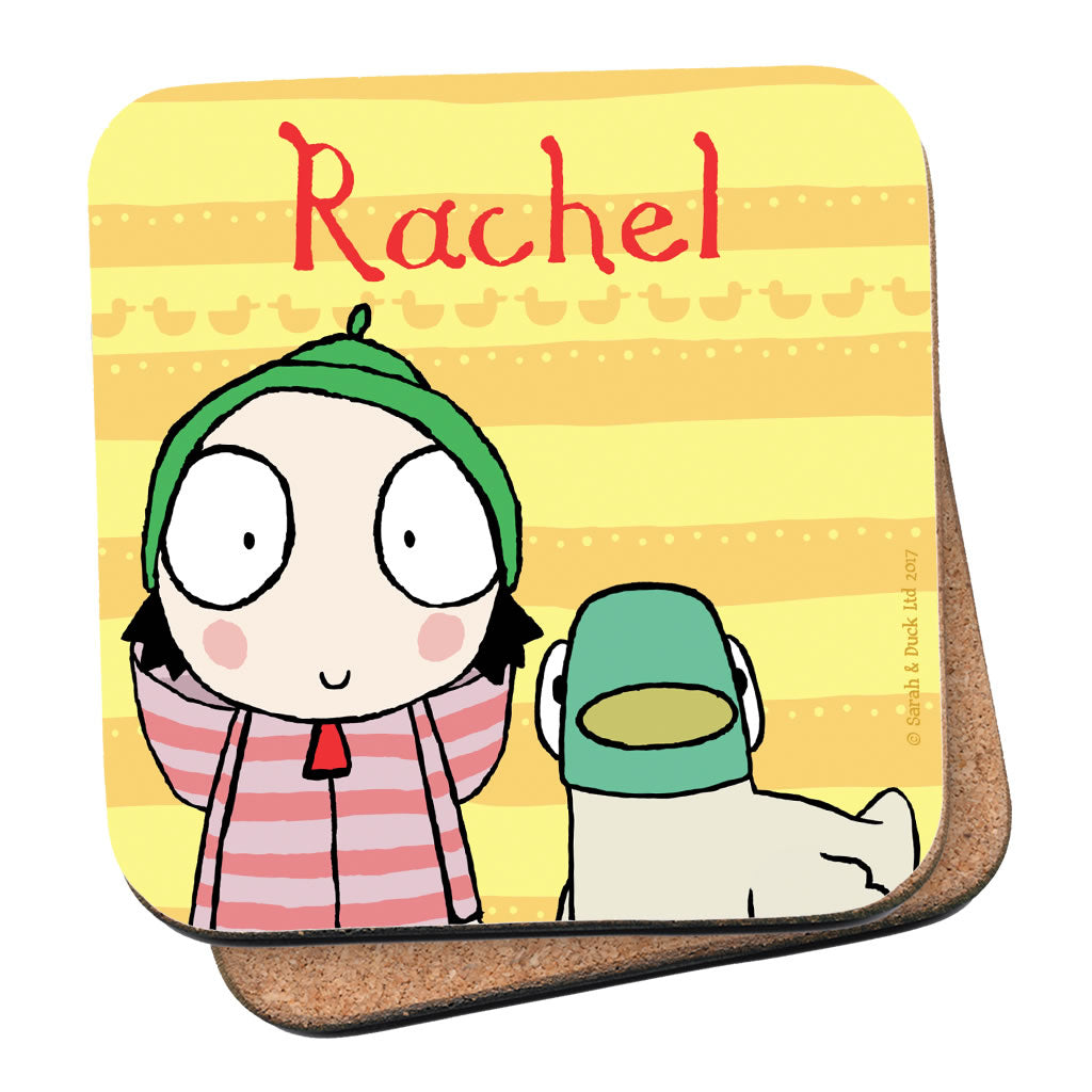 Personalised Yellow Sarah & Duck Coaster