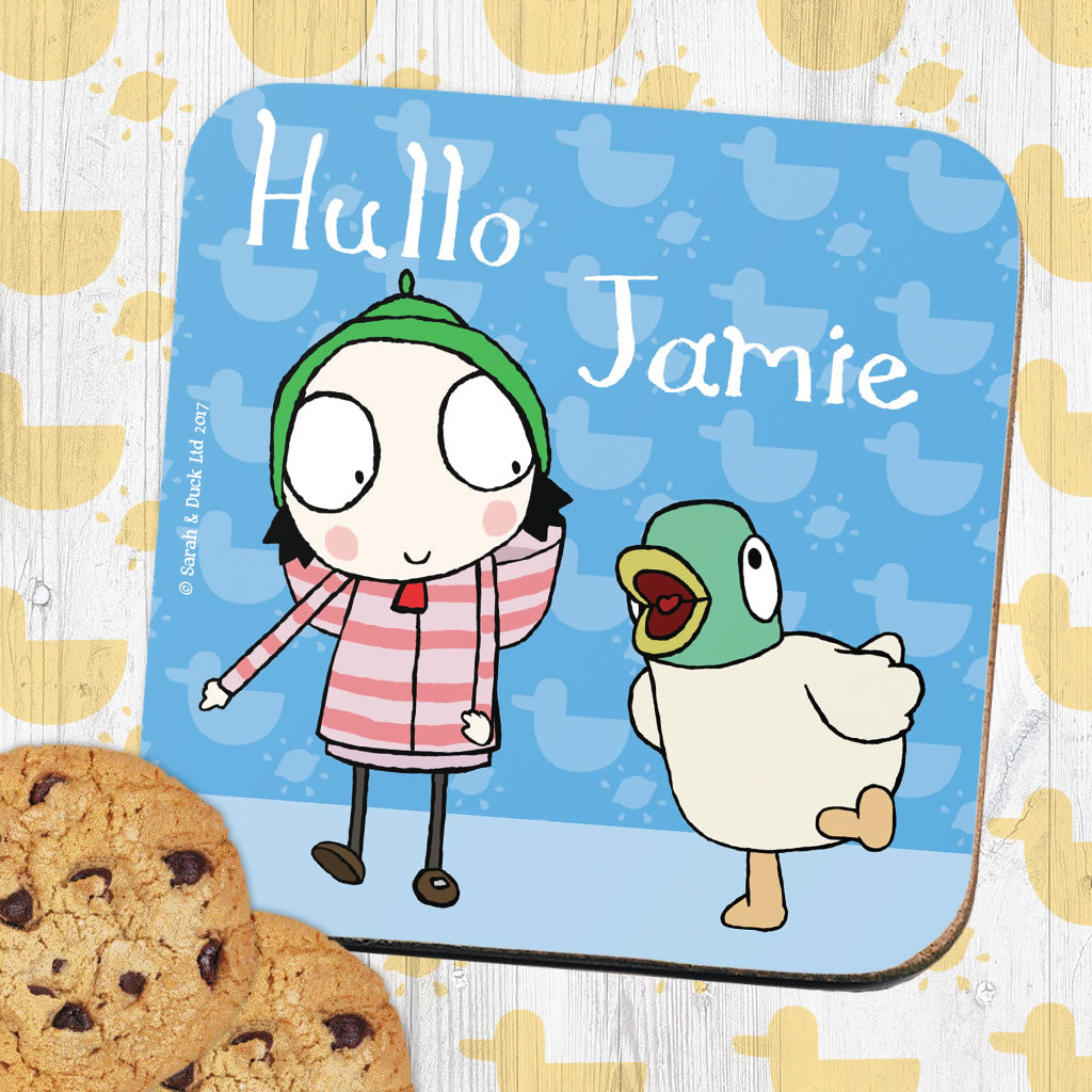 Personalised Blue Sarah & Duck Coaster