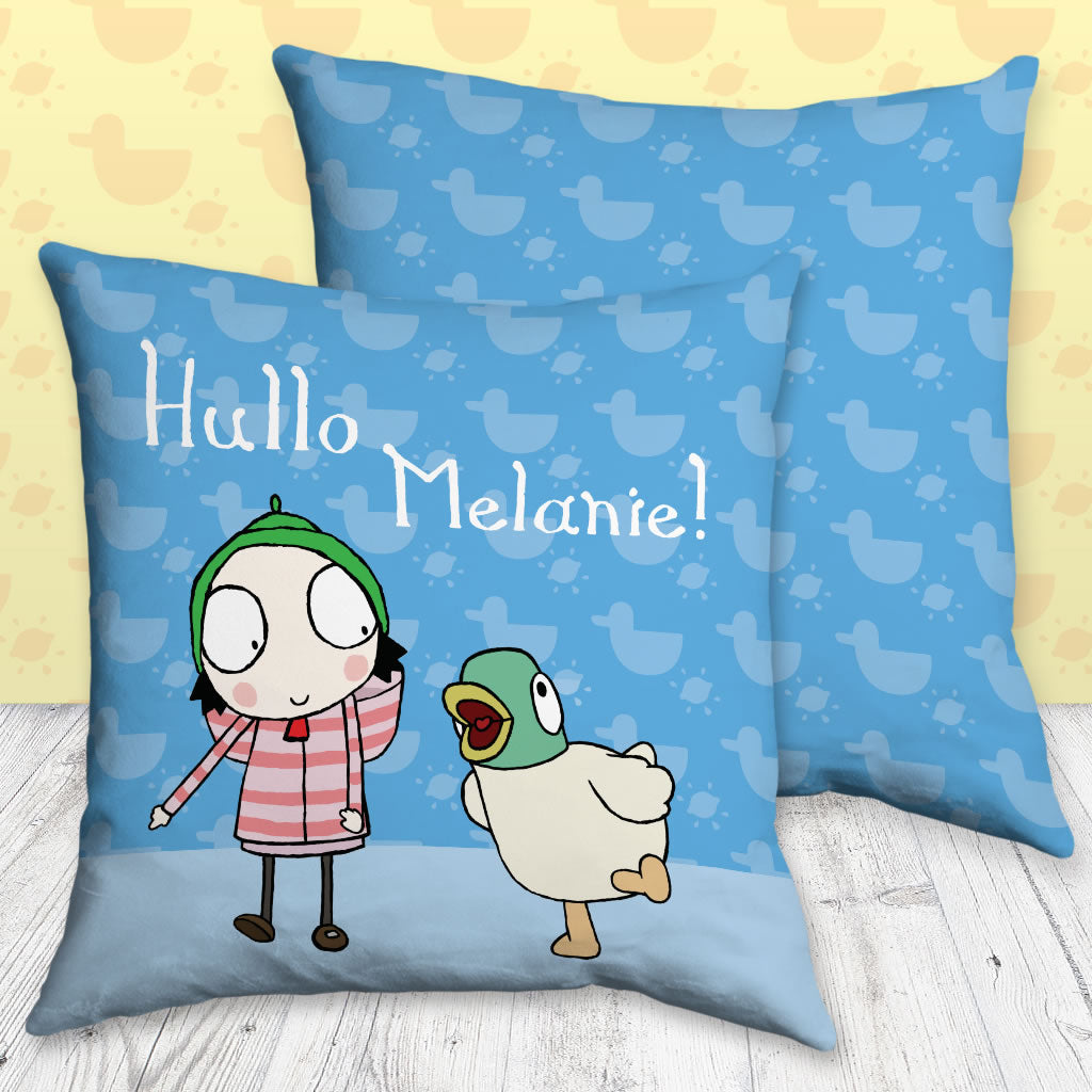 Personalised Blue Sarah & Duck Cushion