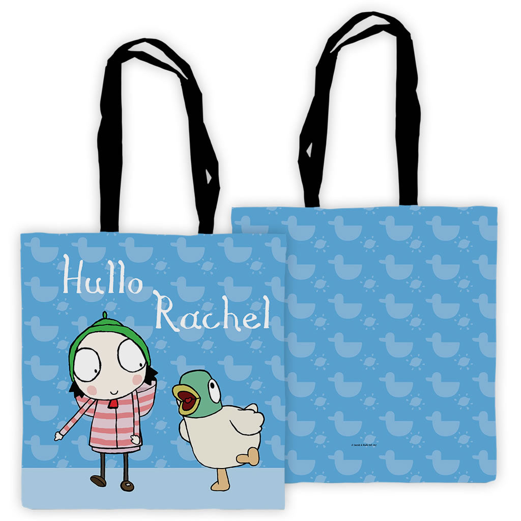 Personalised Blue Sarah & Duck Tote Bag