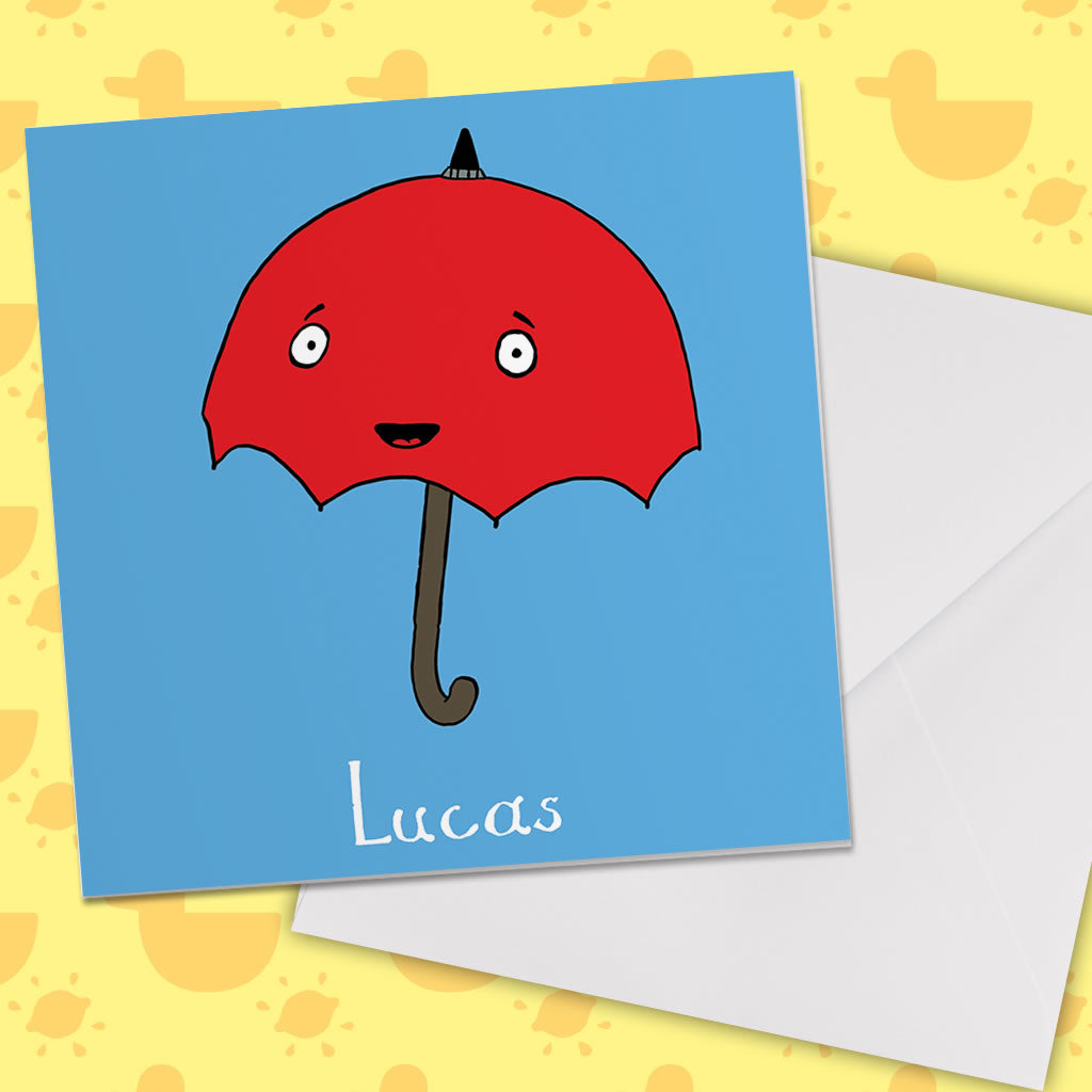 Personalised Umbrella Greeting Card