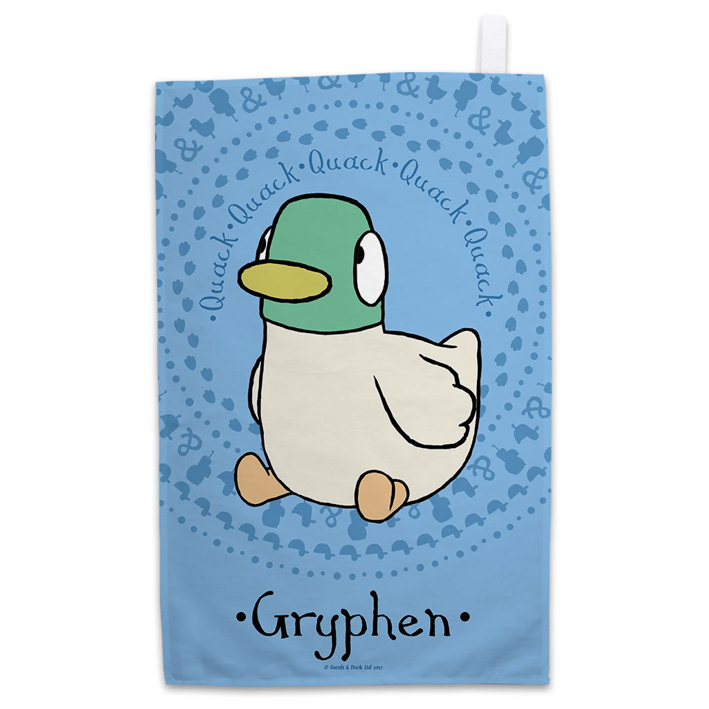 Personalised Blue Duck Tea Towel