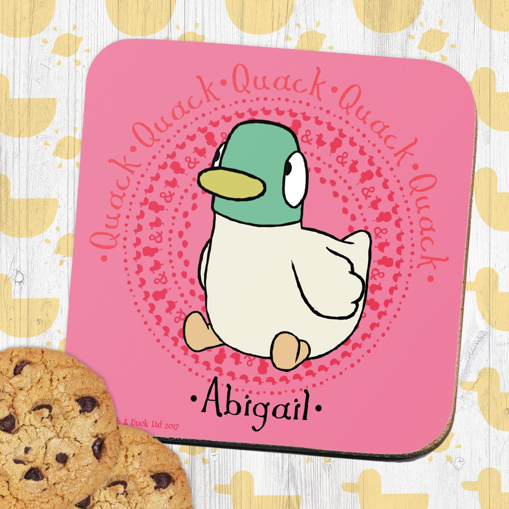 Personalised Pink Duck Coaster