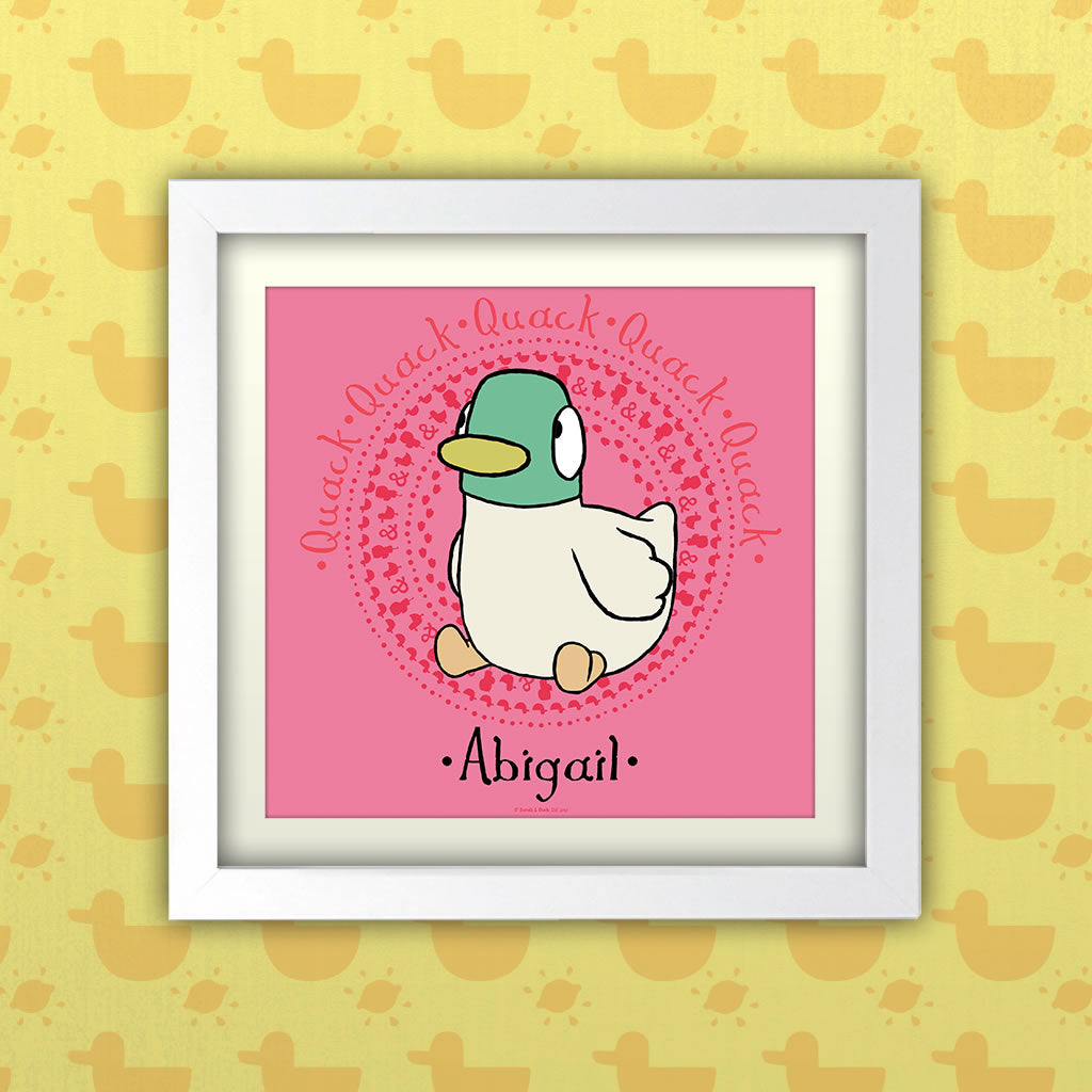 Personalised Pink Duck Art Print