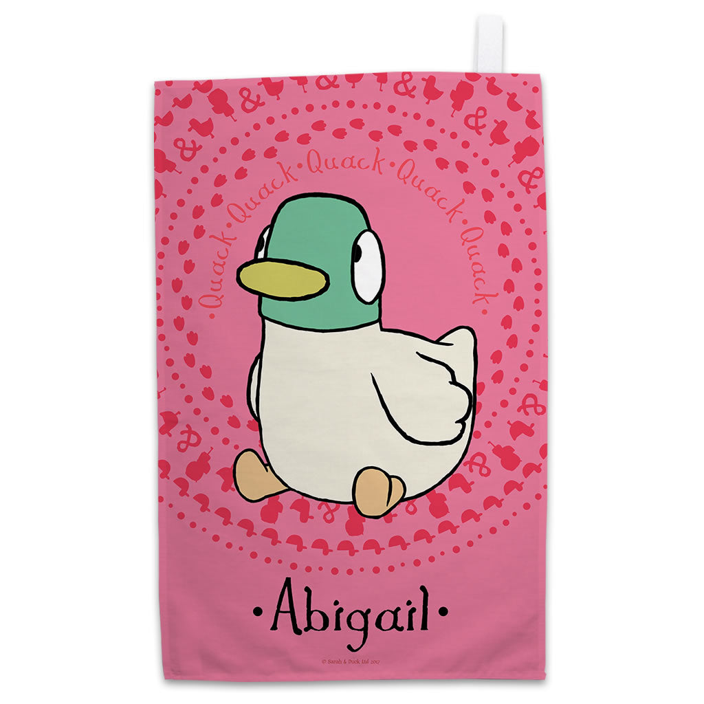 Personalised Pink Duck Tea Towel