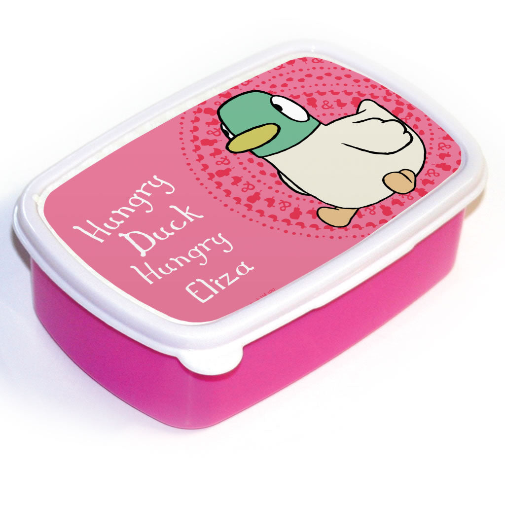 Personalised Pink Duck Lunch Box