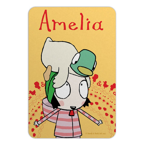 Personalised Yellow Sarah & Duck Door Plaque