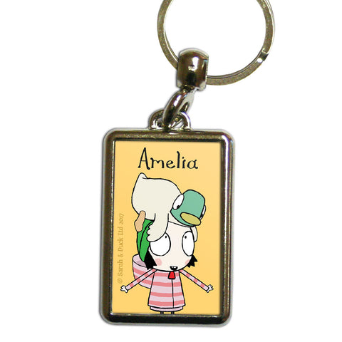 Personalised Yellow Sarah & Duck Keyring