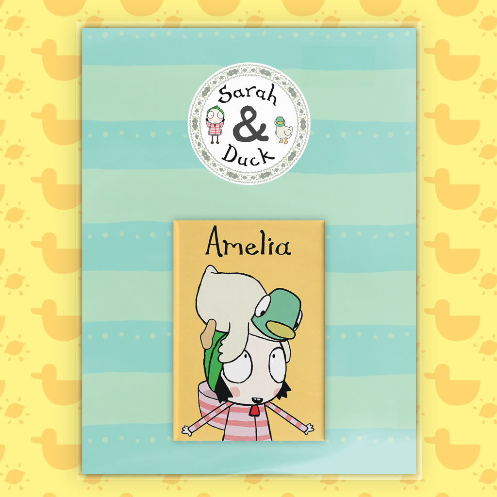 Personalised Yellow Sarah & Duck Magnet