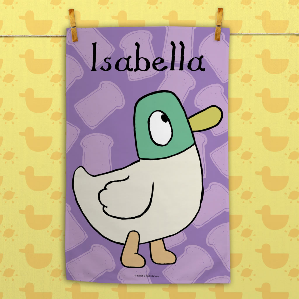 Personalised Purple Duck Tea Towel
