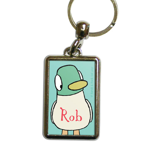 Personalised Duck Keyring - Green