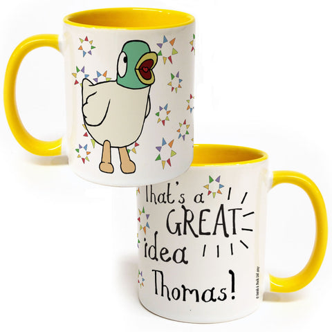 Personalised Duck's Great Idea Colour Insert Mug