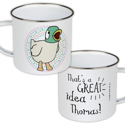 Personalised Duck's Great Idea Enamel Mug